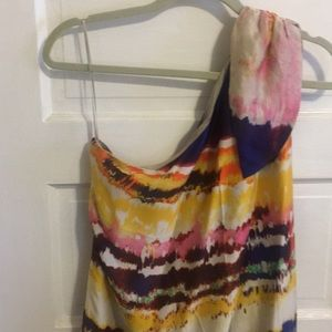 Halston Heritage Silk one shoulder dress *8*